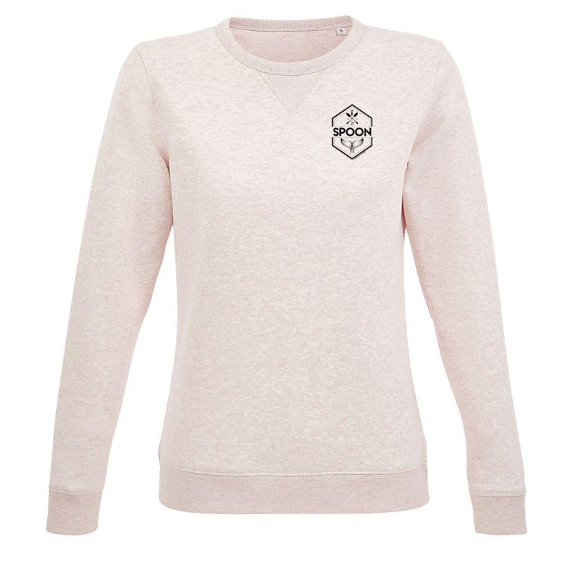 Sweat Shirt Femme ROSE CREMEUX Petit Logo Spoon Cœur Poitrine