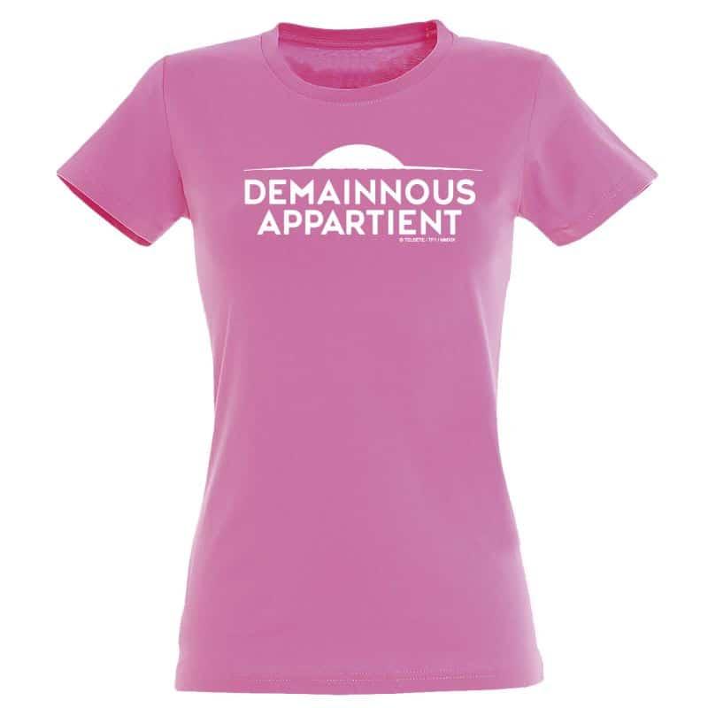 T shirt Femme ROSE Logo Demain Nous Appartient Monochrome Blanc
